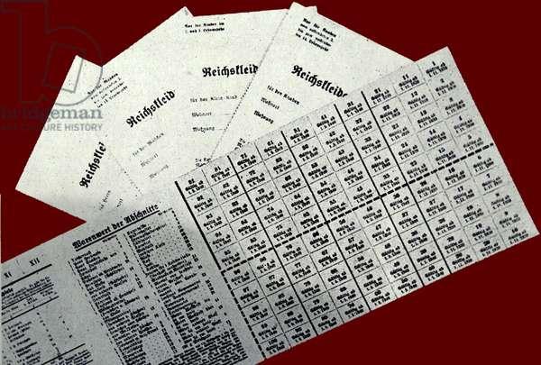 Copy of German clothing cards called 'Reichskleiderkarte'
