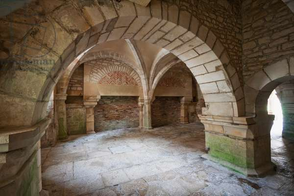 Calefactory Room Or Warming of the Cistercian Abbey of Fontenay, Cote D'or, France (photo)