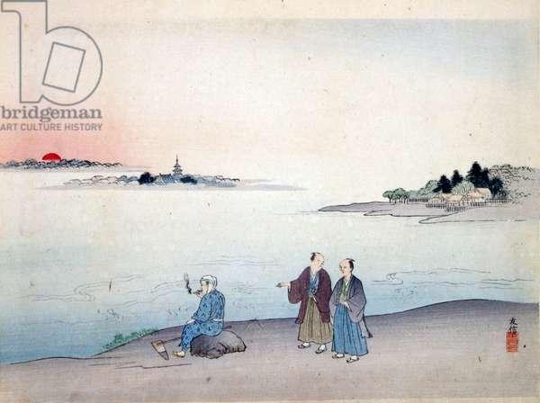 Two men walking by a lake