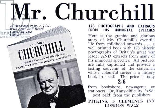 Advert for Winston Churchill memorabilia