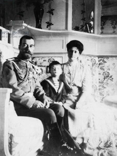 The Royal Couple of Russia, Tsar Nicholas Ll and Tsarina Alexandra Fyodorovna with their Son.