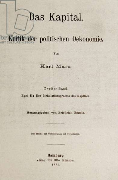 Title page to an 1885 German Edition of 'Das Kapital' by Karl Marx, originally published in 1848.