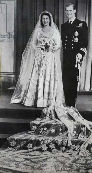 Princess Elizabeth and Prince Phillip on their wedding day