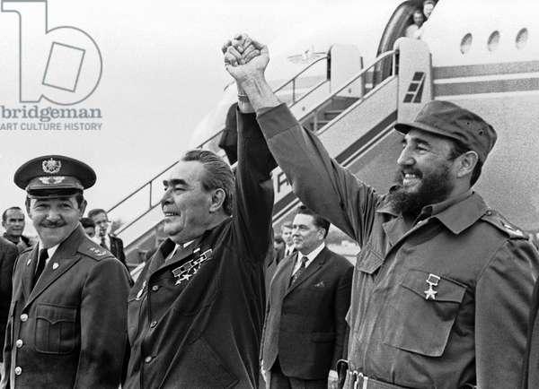 Fidel Castro And Leonid Brezhnev In Havana Airport