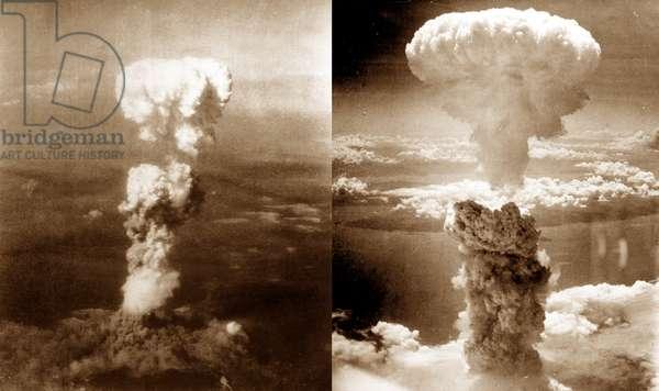 Atomic bomb mushroom clouds over Hiroshima (left) and Nagasaki, 1945