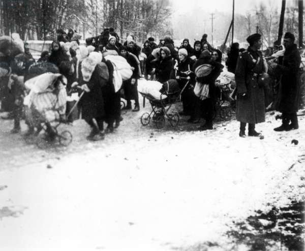 World War 2: Compulsory Evacuation of Soviet Civilians Under Escort of Military Police, Northern Front 1942, USSR, Refugees.