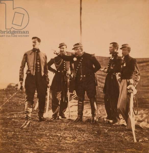 French General Pierre Bosquet giving orders to his Staff, Crimean War, Crimea, Ukraine, 1855 (b/w photo)