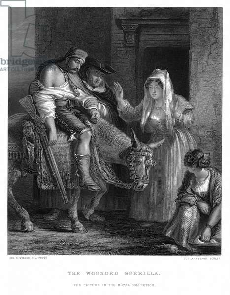 Pensinular War: Spanish guerilla brought to safety (c1809). Engraving after David Wilkie.