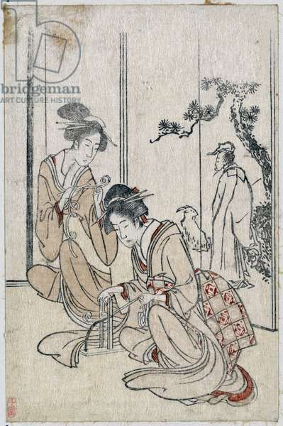 A screen depicting the Chinese sage Huang Shangping, By Hokusai,