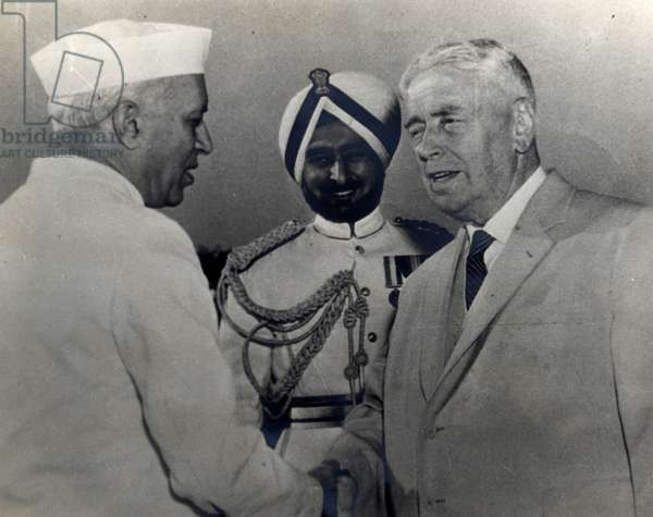 New Zealand prime Minister Walter Nash meets India's Prime Minister Jawaharlal Nehru