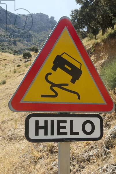 Spain, slippery road sign, close-up