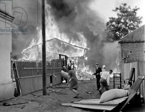 German Luftwaffe Bombs Warsaw (b/w photo)