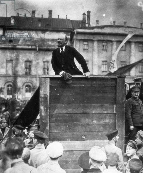 V, I, Lenin Speaking to Red Army Troops Leaving for the Front (Civil War Period), Sverdlov Square, Moscow, May 5Th 1920, Leon Trotsky is Standing on the Stairs on the Right.
