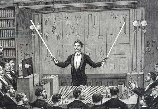 Engraving depicting Nikola Tesla addressing the Société Francaise de Physique and the International Society of Electricians