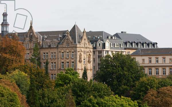 Panoramic View of Buildings by the Vallee De La Petrusse, Luxembourg (photo)