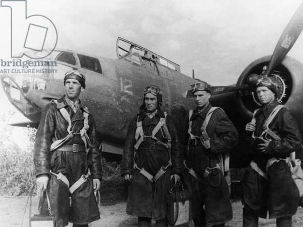 Soviet Airforce Night Bomber Crew with American-Made Douglas Havoc (Boston) Bomber, World War 2, American Aid, Lend Lease Program.