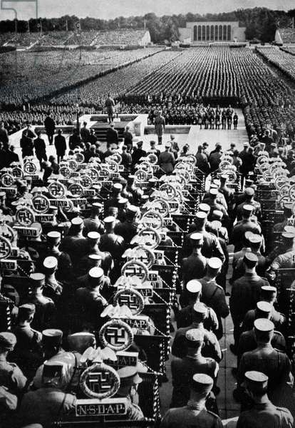 Adolf Hitler 1889-1945. German politician and the leader of the Nazi Party, at a Rally