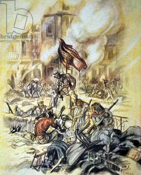Mob frenzy' Spanish Civil war, anti-republican propaganda illustration by C. Sáenz de Tejada