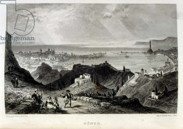 Mediterranean coast off Genoa, Italy, 1862. French illustration