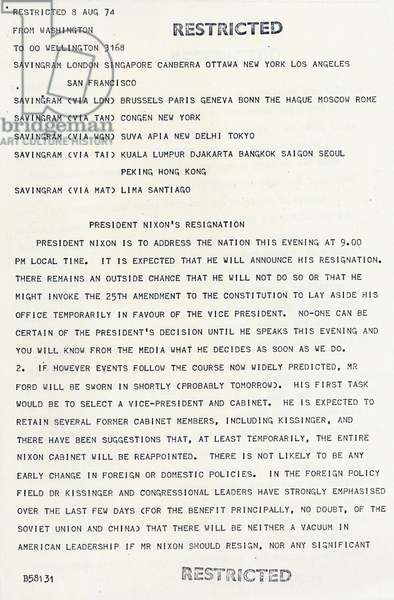 Telegram to US Embassies announcing the resignation of US President Richard Nixon