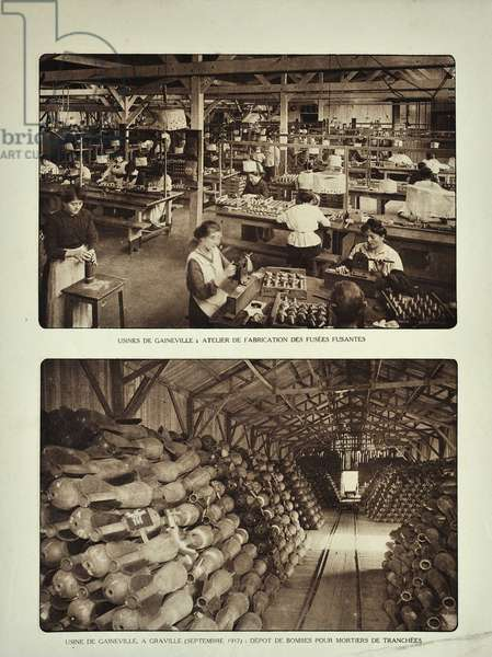 Workers filling shells in the Gaineville ammunition factory at Graville during World War One ©UIG/Leemage
