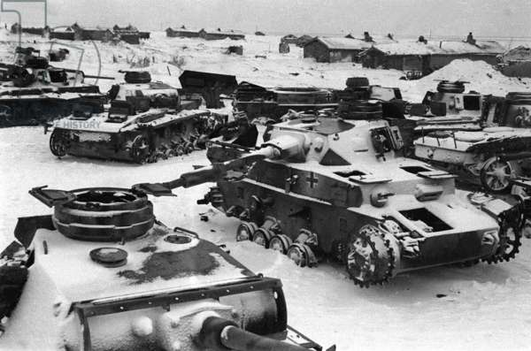 World War 2, Battle of Stalingrad, February 1943: Nazi Tanks and Other Vehicles Destroyed by Red Army During the Battle for the City.