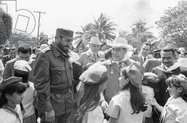 Leonid Brezhnev And Fidel Castro In Santiago De Cuba