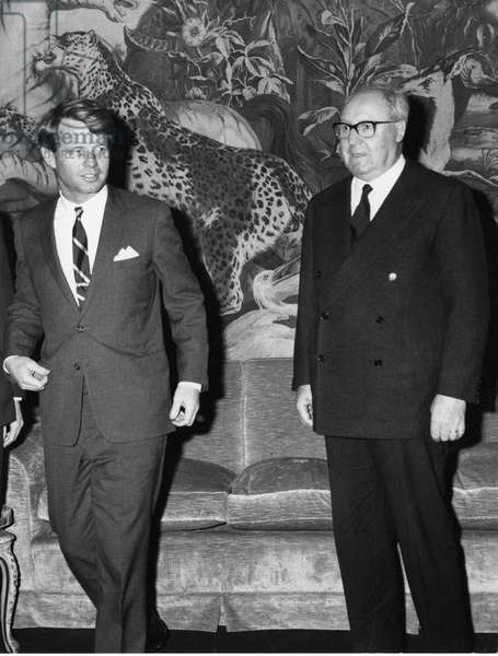 Robert Kennedy with Saragat. Rome. 1966.