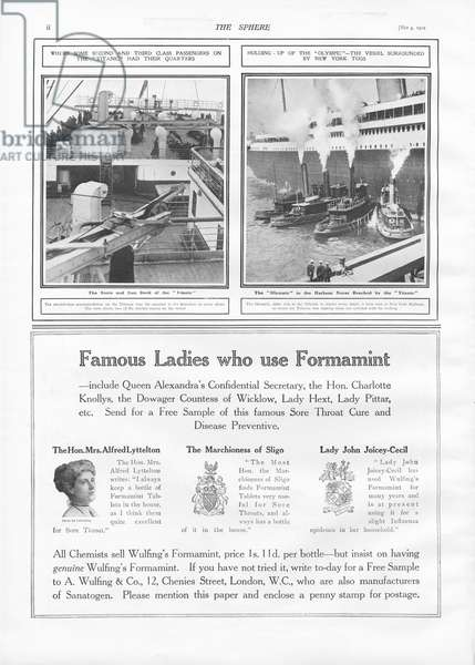 Illustrations of the Titanic and Olympic, from 'The Sphere', 04 May 1912 (litho)