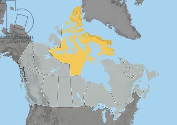 Territory of Nunavut, Canada, Relief Map
