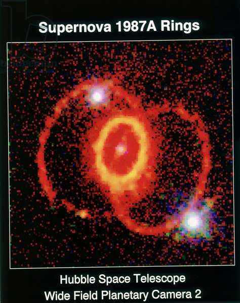 Supernova 19i87A observed with Huble Space Telescope, wide field planetary telescope 2. NASA photograph.