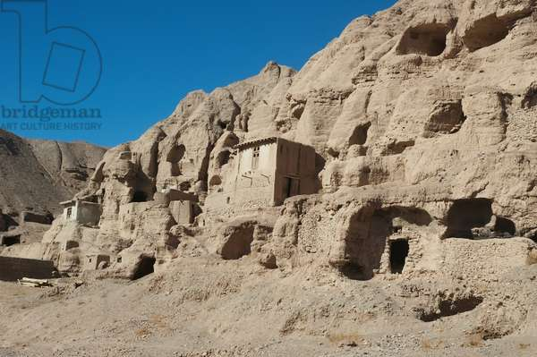 Stone and Mud Houses in the Aqrabat Valley, Bamian Province, Afghanistan (photo)