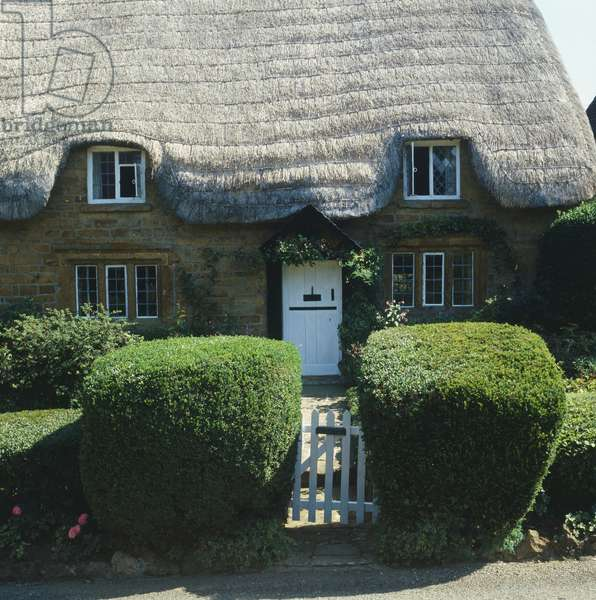Facade of a thatched roof cottage with front garden