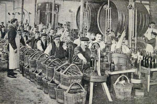 The bottling of wine in Champagne