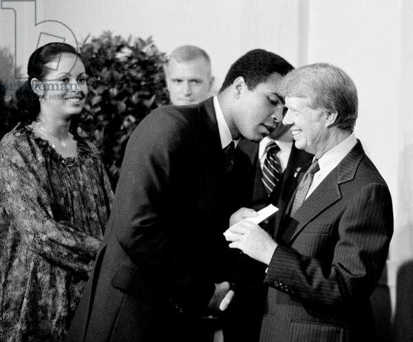 President Jimmy Carter greets Muhammad Ali