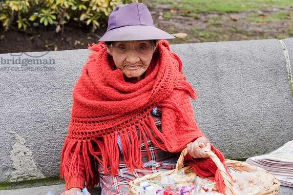 Old Woman Selling Sweets, Quito, Pichincha, Ecuador (photo)