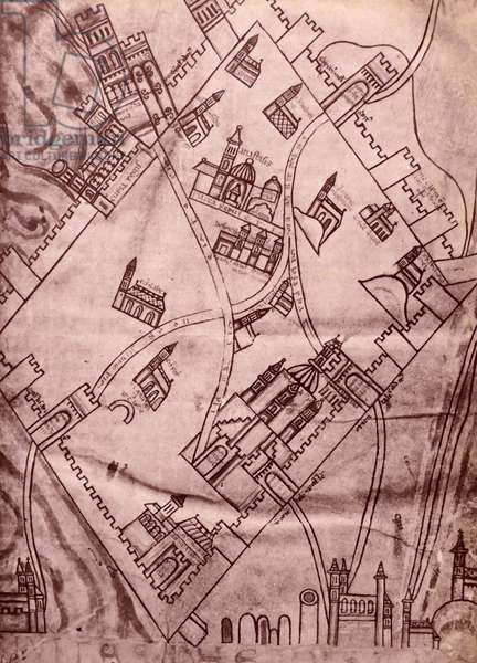 A plan of Jerusalem dating back to the Crusaders, 1754