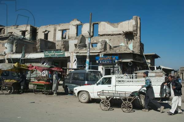 Buildings and Bazaar Stores in Kabul Street, Afghanistan (photo)