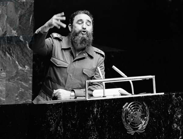 Fidel Castro giving a speech