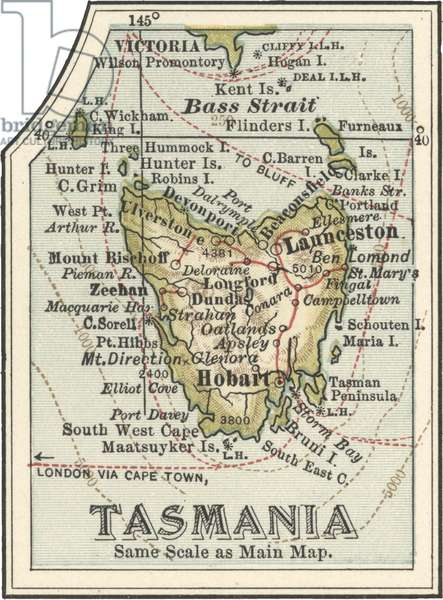 Map of Tasmania, Australia