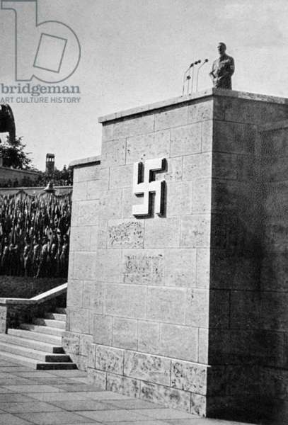 Podium with swastika prepared for a rally in Nuremburg 1936