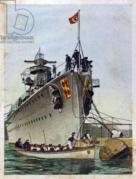 German re-armament and militarisation: Second World War pocket battleship 'Admiral Graf Spee'.  From series of 270 cigarette cards 'Die Deutsche Wehrmacht', Dresden, 1936.