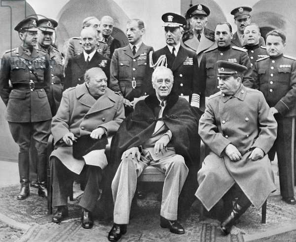 Winston Churchill, Franklin D. Roosevelt And Joseph Stalin In A Conference