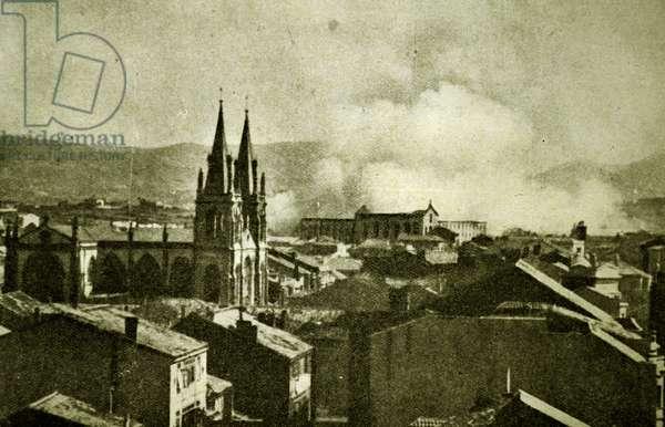Spanish civil war: Gijón in flames, the burning barracks of Simancas.