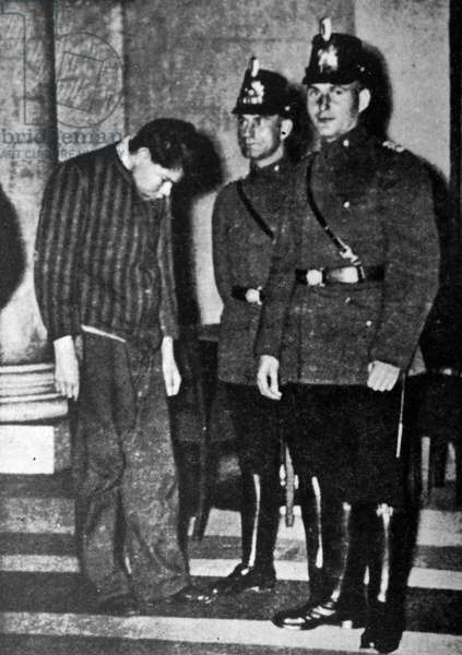 Marinus van der Lubbe convicted of and executed for, setting fire to the German Reichstag. , 1933