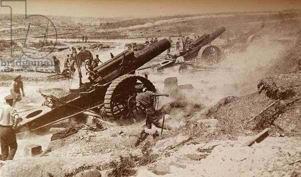 Eight-inch howitzers fire a barrage during the Battle of the Somme