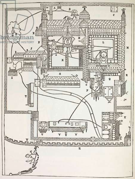 Plan Of The Benedictine Monastery At Canterbury, 1880 (litho)