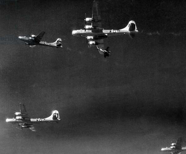 Japanese Ki-46 attacking American Boeing B-29s, 1945