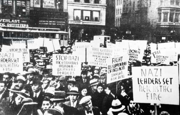 Demonstration In Front Of The German Embassy In New York, Usa, 1933, To Protest Trial Stemming From Reichstag Fire (Dimitrov Accused).