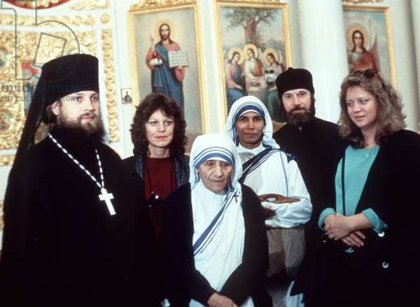 Moscow, USSR, 9/87: Mother Teresa, Visiting from India, with Russian Orthodox Priests.